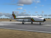 Screenshot of Air Zimbabwe Vickers Viscount 748D on runway.