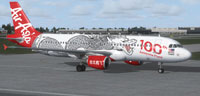 Screenshot of AirAsia Airbus A320-200 on the ground.