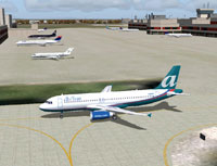 Screenshot of AirTran Airbus A320-200 on the ground.