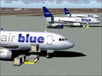 Screenshot of Airblue Airbus A320 on the ground.