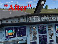 Screenshot of upgraded Airbus cockpit textures.