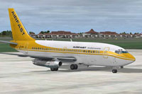 Screenshot of Airfast Indonesia Boeing 737-200C on the ground.