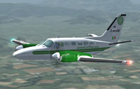 Screenshot of Airprofessional Cessna 441 Conquest in flight.