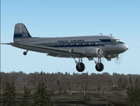 Screenshot of Airveteran Douglas DC-3 flying low above the trees.