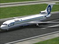 Screenshot of Alaska's Boeing 727 on runway.