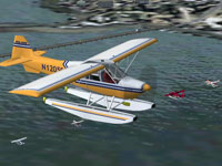 Screenshot of Seaplane in the air.