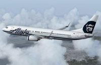 Screenshot of Alaska Airlines Boeing 737-800 in flight.