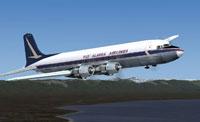 Screenshot of Alaska Airlines Douglas DC-6 in flight.