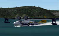 Screenshot of Alaskan Winds PBY Catalina landing on water.