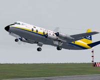 Screenshot of Alidair Viscount 814 taking off from runway.