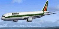 Screenshot of Alitalia Boeing 777-200ER in flight.