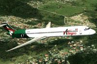 Screenshot of Allegro McDonnell Douglas MD-83 in flight.