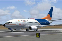 Screenshot of Alliance Air Boeing 737 on runway.
