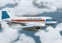 Screenshot of Aloha Airlines Douglas DC-3 flying through clouds.