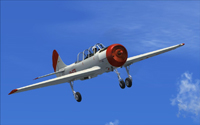 Screenshot of white and red Yak-52 in flight.