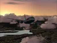 Screenshot of America West A319-100 in flight.