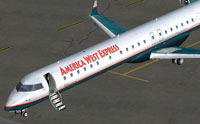 Screenshot of America West Bombardier CRJ 900 on the ground.
