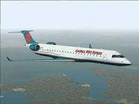 Screenshot of America West Express CRJ700-ER in flight.