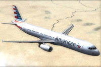 Screenshot of American Airlines Airbus A321 in flight.