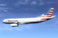 Screenshot of American Airlines Airbus A330-200 in flight.