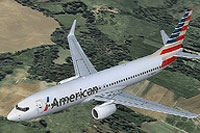 Screenshot of American Airlines B737-800 in flight.