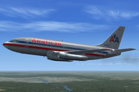 Screenshot of American Airlines Boeing 737-200 in flight.