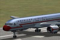 Screenshot of American Airlines Boeing 757 on runway.