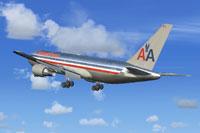 Screenshot of American Airlines Boeing 767-200 in flight.