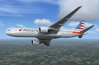 Screenshot of American Airlines Boeing 777-200ER in flight.