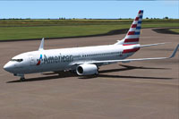 Screenshot of American Airlines Boeing 777-800 on the ground.