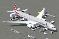 Screenshot of American Airlines Boeing 787-9 with ground services.