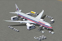Screenshot of American Boeing 787-9 and ground services.