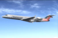 Screenshot of American Eagle CRJ700 in flight.