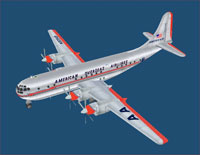 Iamge of the American Overseas Airlines Boeing 377 model.
