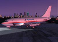 Screenshot of Ameristar Air Cargo 737-200 in flight.