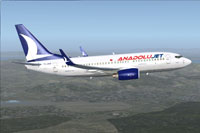 Screenshot of Anadolujet Boeing 737-76N NGX in flight.