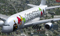Screenshot of Angry Birds Airbus A380 in flight.