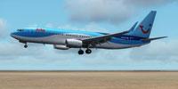 Screenshot of Arke Boeing 737-800 with landing gear lowered.