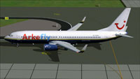 Screenshot of Arkefly Boeing 737-800 taxiing to runway.