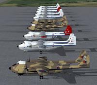 Screenshot of ten aircraft on the ground.