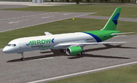 Screenshot of Arrow Cargo Boeing 757-28A(PCF) on runway.