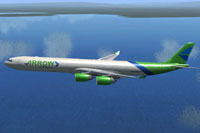 Screenshot of Arrow Cargo VA Airbus A340-600F in flight.