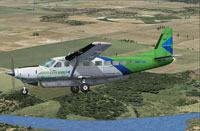 Screenshot of Arrow Cargo VA Cessna 208 Caravan in flight.
