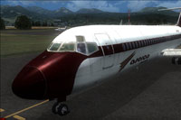 Screenshot of Aserca Airlines Douglas DC 9-30 on runway.