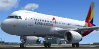 Screenshot of Asiana Airlines Airbus A320-211 on runway.