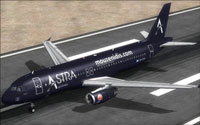 Screenshot of Astra Airlines Airbus A320 on runway.