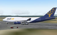 Screenshot of Atlas Air Boeing 747-400F on runway.