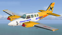 Screenshot of Aurigny Air Service Beechcraft Baron in flight.