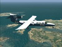 Screenshot of Aurigny Air Services Trislander in flight.