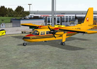 Screenshot of Aurigny Britten-Norman Islander on the ground at Alderny Airport.